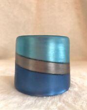 "ALEXIS BITTAR Blue Gray LUCITE Striped CUFF Bracelet - 2.6"" Wide"