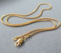 """Solid 18K Yellow Gold Necklace 1.15mm Round Snake Link Chain Necklace 16.5"""" L"""