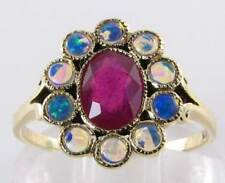 CLASS 9K 9CT GOLD INDIAN RUBY & AUS OPAL CLUSTER ART DECO INS RING FREE SIZE