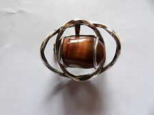 EARLY OLA GORIE OMG STERLING SILVER TIGER EYE CAGE FREEFORM 3D BROOCH     L576-3
