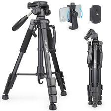 "63"" 160cm Lightweight Travel Camera Tripod & Panoramic Pan Head & Phone Holder"