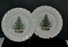 """NIKKO Happy Holidays ~ Set of 2 Porcelain Dinner Plates size 10.5"""" Japan *MINT"""