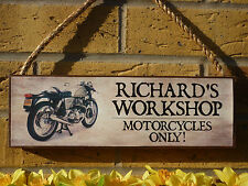 PERSONALISED CLASSIC MOTORCYCLE SIGN MOTORBIKE SIGN ROYAL ENFIELD NORTON ARIEL