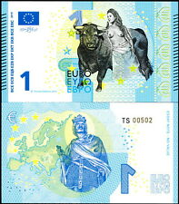 EUROPE 1 EURO POLYMER FANTASY ART BILL - TOPLESS LADY AND BULL; CHARLES MARTELL!