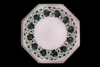 "12"" White Marble Side Coffee Table Top Malachite Floral Inlay Bedroom Decor W639"