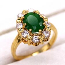 24K Gold Plated Copper Ring Emerald White Crystal CZ Gold Jewelry Ring Size 6
