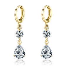 Dangle Pear Crystal Yellow Gold Filled Women Lady Wedding Jewelry Hoop Earrings