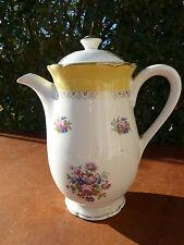 Ancienne verseuse, cafetière à décor de fleurs céramique de Digoin art populaire