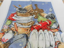 VINTAGE SOUVENIR TEA TOWEL LINEN/COTTON BLEND BY ROSS 'IT'S YOUR TURN' BRAND NEW