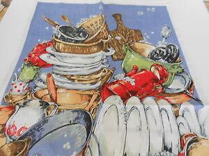VINTAGE SOUVENIR TEA TOWEL LINEN/COTTON BLEND BY ROSS 'IT'S YOUR TURN' BRAND NEW
