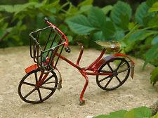 Miniature Dollhouse FAIRY GARDEN ~ Small Rustic Red Metal Bicycle ~ NEW