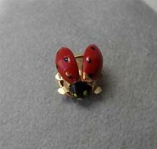 Lady Bug Beetle Brooch 14K Gold Enamel Antique Estate Jewelry Tie Tack Art Deco