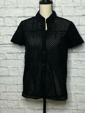 Theory Black Eyelet Sheer Short Sleeve Button Down Blouse Size M
