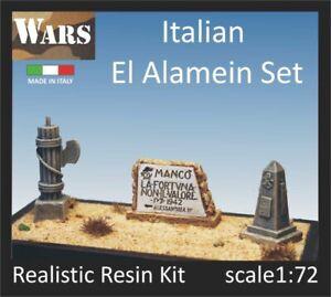 WARS 6-72 Set 3pezzi EL ALAMEIN cippo diorama WW2 Italian memorial stone 1:72