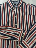 Tommy Hilfiger shirt men Lg Button Down Lg Slv Casual Dress VTG red white blue