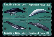 SELLOS TEMA WWF PALAU 1983 Nº 15//18 ANIMALES MARINOS. BALLENAS 4v.