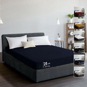 25 CM Extra Deep Stripe Fitted Sheets Single Double King Super King Bed Sheets