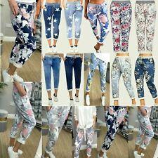 Italian Ladies Women Summer Beach Turn Up Cotton Trouser Jogger Size 8 10 12 14