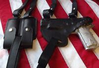 J&J CUSTOM FORMED COLT HORIZONTAL PREMIUM LEATHER SHOULDER RIG HOLSTER BLACK