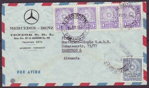 d5541/ Paraguay Airmail MERCEDES BENZ Auto-Car LOGO Cover t/Germany 1954