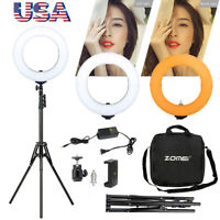 """18"""" LED SMD Ring Light Kit Dimmable 5500K w/Stand&Holder for Makeup Phone Camera"""