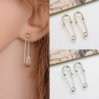 Fashion Women Gold Silver Creative Safety Pin Ear Clip Piercing Earrings Jewelry