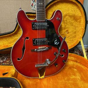 Vintage 1970s Epiphone EA250 Cherry Red Made in Japan Semi Electric Guitar OHSC