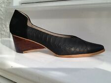 Designer FINSK New All Leather Black Low Heeled Shoes, Size 5 (38) BNWB, £440rrp