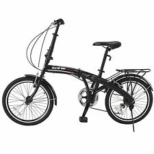 "20"" Mini Folding Bike 6 Speed Black Bicycle Foldable Shimano School Bicycle"