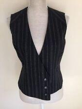 Button Wool Blend Striped Waistcoats for Women