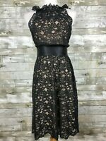 Women's Banana Republic High-Neck Lace Overlay Dress sz 2 black cream sleeveless