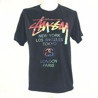 Stussy Mens t-shirt Worldwide Cities Rainbow Double Sided Graphics Vintage 90s M