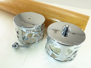 (Lot of 2) Decorative End Cap Chrome For 55mm Staircase Timber Handrail