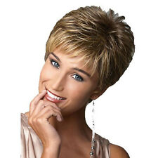 Sexy Women's Short Blonde Brown Mix Wigs Cosplay Fluffy Straight Natural Hair