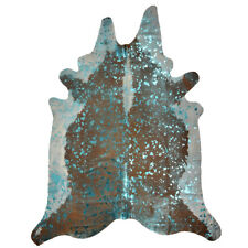 Super Size Genuine Cow Hide - Skin with Turquoise Metallic Finish - 5ft x 6ft
