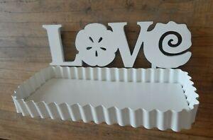 WHITE  METAL LOVE SHELF WALL MOUNTED WOOD LETTERING METAL / UK SELLER
