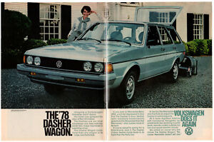 1978 VOLKSWAGEN Dasher Wagon Vintage Original 2 page Print AD - Gray car photo