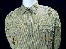 Focus USA Inc F.U.S.A.I Checks Mens Yellow Long Sleeve Snap Safari Shirt Large L