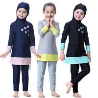 Muslim Kids Girls Full Cover Swimwear Islamic Arab Modest Swimsuits Swim Clothes