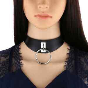 Schwarzes Halsband mit O-Ring - Bondage BDSM Leder Collar