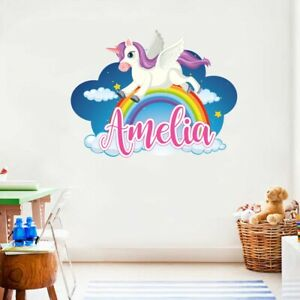 Personalised Rainbow Unicorn Wall Sticker Name Vinyl Decal Girls Nursery Bedroom