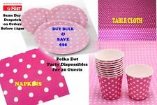 Bulk Pink Polka Dot Party Supplies Pack Table cover,Plates,Glasses & Napkins