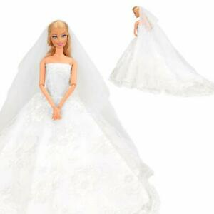 Abendkleid Spitze Brautschleier Hochzeitskleid für Barbie Puppenfür 11,5 Zoll