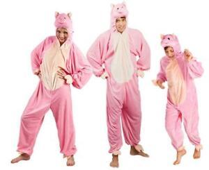 Schwein Schweine Pig Kostüm Overall Plüsch Tier Mütze Maske Schweinkostüm Sau