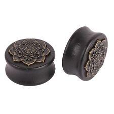 10-25 mm Plug Tunnel Plug Holz Mandala Blume schwarz braun Messing Piercing