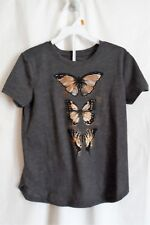 GIRL S 6 7 GRAY S/S SHIRT BEAUTIFUL GOLD OUTLINED BUTTERFLIES NWT ~ OLD NAVY