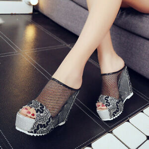 Womens Wedge Sandals Mesh Platform Slippers Peep Toe High Heels Party Sexy Shoes