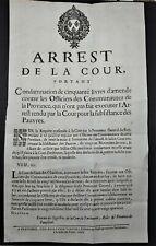 AFFICHE PLACARD 1694 Arrest de la Cour Subsistance des Pauvres Condamnation 50 L