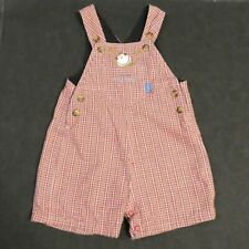 MOTHERCARE RED CHECKED BABY COTTON DUNGAREE CHEEKY MONKEY EMBROIDERY 0-3 MONTHS
