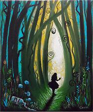 Original Artwork Handpainted Alice in Wonderland Acrylic Canvas Fantasy Painting